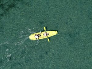 Two persons kayaking
