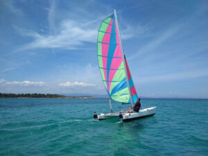 An adult sailing a catamaran