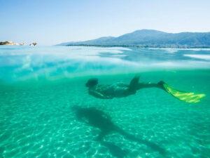 Ein Schwimmer, der unter Wasser schnorchelt